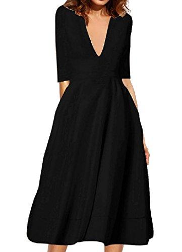 Wedding Coolred Black Dress Princess Party Women Solid Elegant Color IBIP8rq