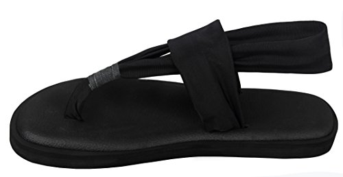 a342de147c6c Santiro Black Flat Women Sandals Shoes Yoga Mat Sole Sling Thong Sandals  Lightweight Slingback Flip-