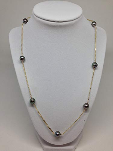 Tahitian Tin Cup - Cultured Tahitian Pearl Tin Cup Necklace 14k yellow gold chain