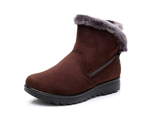 H-Mastery Winter Boots Women Fur Lined Warm Suede Leather Ladies Ankle Short Flats Zip Snow Shoes Brown
