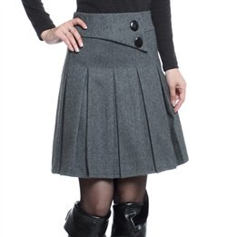 8ffd63618 Paño de lana de mujer falda plisada falda faldas de color sólido ...