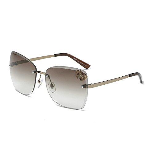 DONNA Trendy Oversized Frameless Sunglasses Cat Eye Gradient Clear Lens Glass D105(Brown - Frameless Eye Glasses
