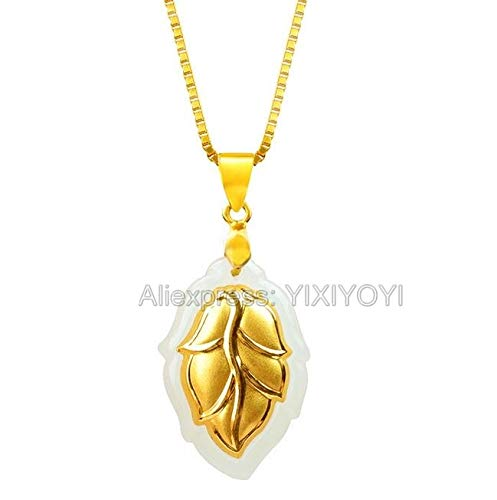 TTO Pendants - Natural 22x14mm White Hetian Jade + 18K Solid Gold Inlaid Carved Tree Leaf Pendant + Free Necklace Fine Jewelry + Certificate 1 PCs (White Jade Bangles Gold)