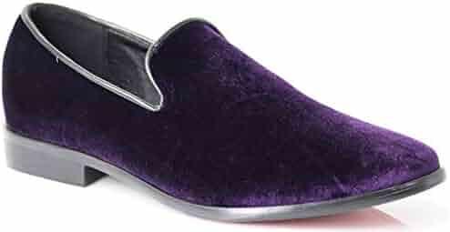6ba0244d9 Enzo Romeo SPK03 Men's Vintage Plain Velvet Dress Loafers Slip On Shoes  Classic Tuxedo Dress Shoes