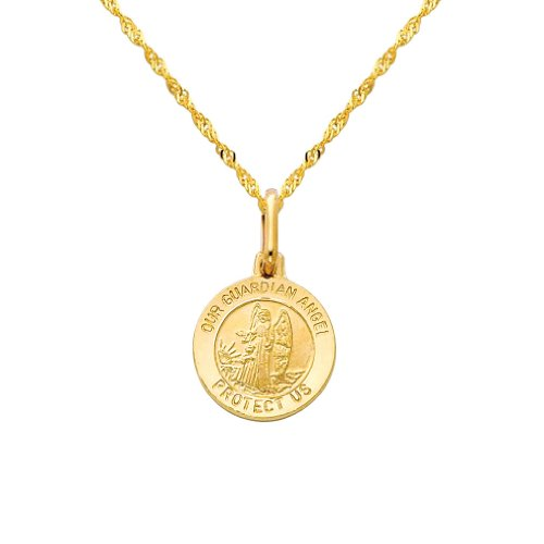 GM Fine Jewelry 14k Yellow Gold Religious Our Guardian Angel Medal Charm Pendant with 1.2mm Singapore Chain Necklace - 22