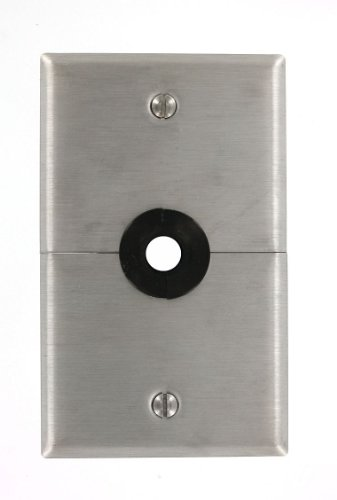 Gang 1 Leviton Telephone (Leviton S751-N 1-Gang .625-Inch Hole Device Telephone/Cable Wallplate, Box Mount, Horizontal Split Plate, Stainless Steel)