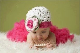 Leegoal 0-1 Year Old Baby Kids Photography Crochet Beanies Hats and Skirt Outfits,Rose red