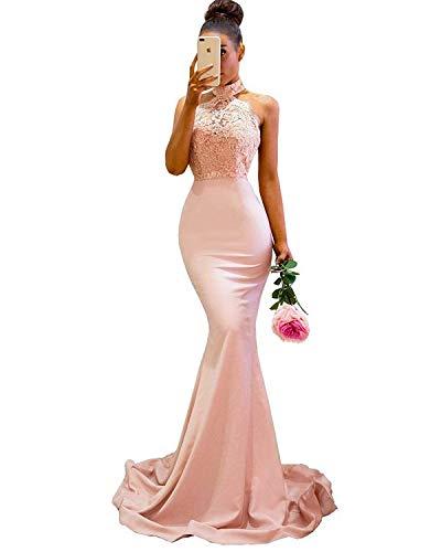 Halter Applique - WiWiBridal Women's Halter Mermaid Applique Lace Wedding Bridesmaid Evening Dress Blush Pink