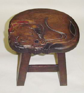 Dog Footstool - Sleeping Puppy Dog Hand Carved and Hand Painted Wooden Foot Stool