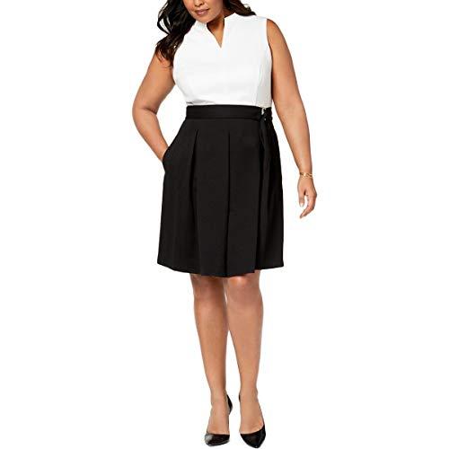 - ELLEN TRACY Women's Plus-Size Sleeveless Dress with Belt, Ivory/Black, 18W