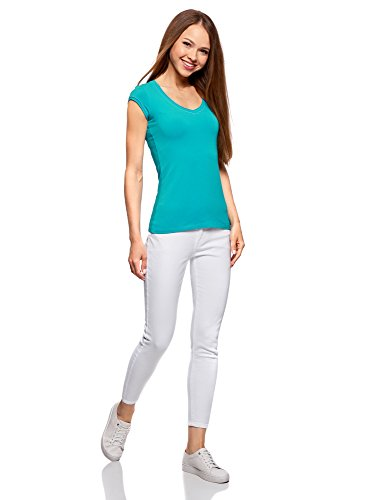 Ultra oodji Grezzo T Donna Turchese 7300n con Shirt Maniche Scollo Basic e dwrwzq