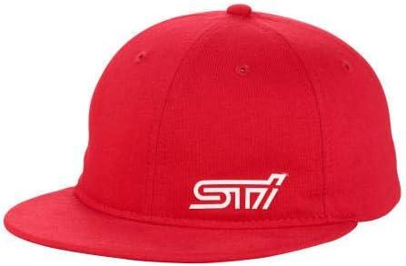 Genuine Subaru STI Jersey Flatbill Cap Hat Impreza STI WRX Red Cotton Flat Bill