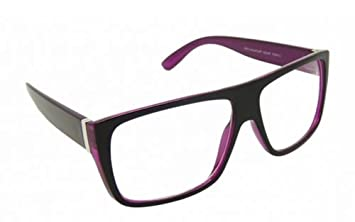0e6b7c0aa79 Image Unavailable. Image not available for. Colour  Flat Top Black Purple  Designer Geek Clear Lens Glasses ...