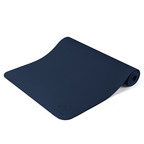 "Clever Yoga Premium Mat BetterGrip Eco-Friendly with The Best Recyclable Non-Slip and Durable TPE 6mm or 1/4″ Thick – Comes with Our Special ""Namaste"" (Dark Blue) For Sale"