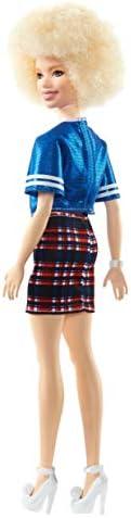 Mattel Barbie - Fashionistas pop, in blauw glitterbovendeel en rok, met ruitpatroon