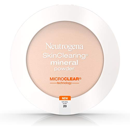 Neutrogena SkinClearing Mineral Acne-Concealing Pressed Powder Compact, Shine-Free & Oil-Absorbing Makeup with Salicylic Acid to Cover, Treat & Prevent Breakouts, Natural Ivory 20, .38 oz