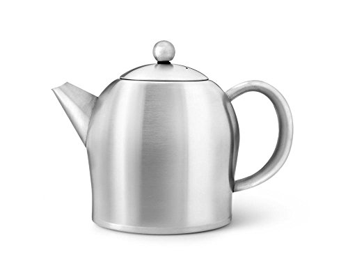 - bredemeijer Santhee Double Walled Teapot, 1.0-Liter, Stainless Steel Satin Finish with Satin Accents