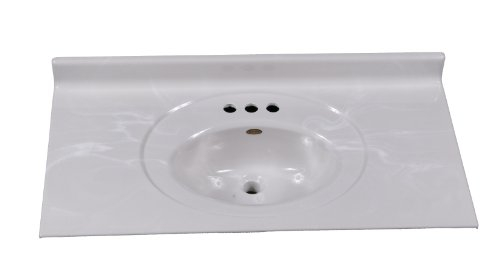 Imperial VS3719W Recessed Center Oval Bowl Bathroom Vanity Top, 37-Inch Wide by 19-Inch Deep, White Gloss Finish