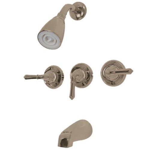 Kingston Brass KB238 Magellan Tub and Shower Faucet with 3-Magellan Handle, Brushed Nickel