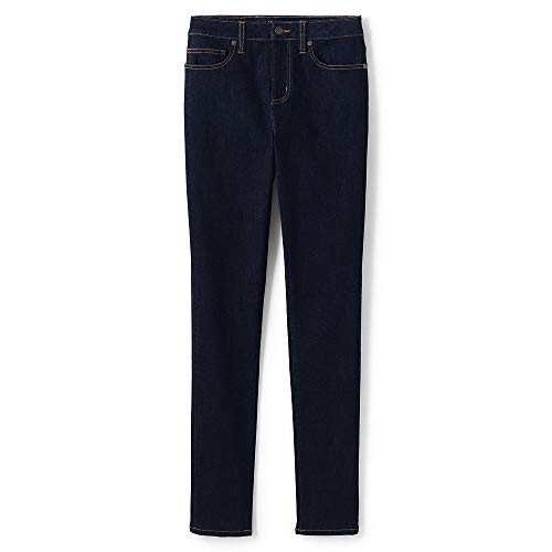 Lands' End Women's Mid Rise Curvy Skinny Jeans, 12 32, Deepest Indigo -