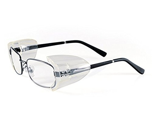 VIEEL Slip On Clear Side Shields for Safety Glasses, Safety Glasses Side Shields- Fits Small/Medium / Large Eyeglasses (6PC L) by VIEEL