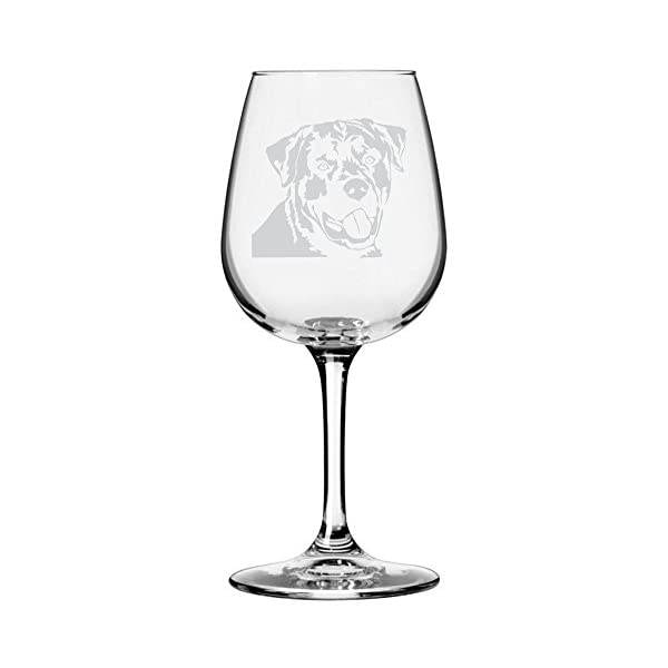 Rottweiler Dog Themed Etched All Purpose 12.75oz Libbey Wine Glass 1