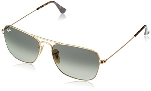RAY-BAN RB3136 Caravan Square Sunglasses, Gold/Grey Gradient, 55 mm (Rayban Square Sunglasses Men)