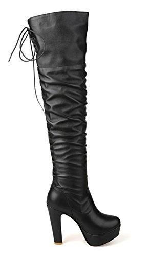 Femme Plateforme Aisun Cuissardes Bottes Elastique Noir Sexy ZwqdqOx6