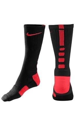 NIKE Elite Basketball Crew Socks-Small, Black/Varsity Red