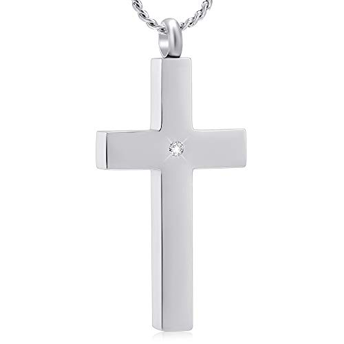 (Imrsanl Crystal Cross Cremation Necklace for Ashes Stainless Steel Keepsake Jewelry Cross Memorial Urn for Pet Human)
