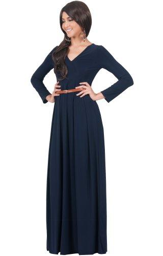 KOH KOH® La Mujer Vestido maxi largo escote V manga larga elegante Azul Marino