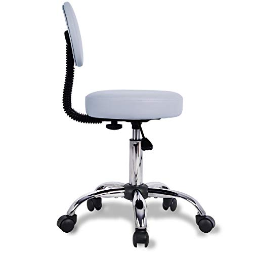 Rolling Stool Chair Adjustable Swivel Office Desk Chair with Back and Wheels for Office,Home,Shop,Spa in Grey