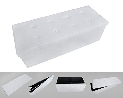 Todeco - Banc Pliant, Ottoman avec Espace de Stockage - Charge maximale: 150 kg - Matériau: Simili-cuir - Finition piquée et capitonnée, 110 x 38 x 38 cm, Blanc