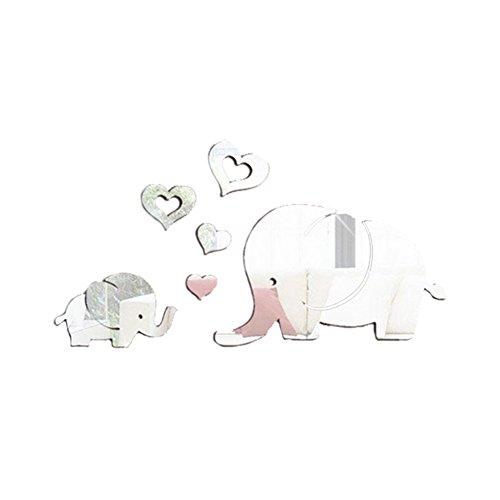 BleuMoo 1Set Cute Elephants with Love 3D Mirror Wall Stickers Baby Nursery Decor Kids Room Wall Stickers (Silver)