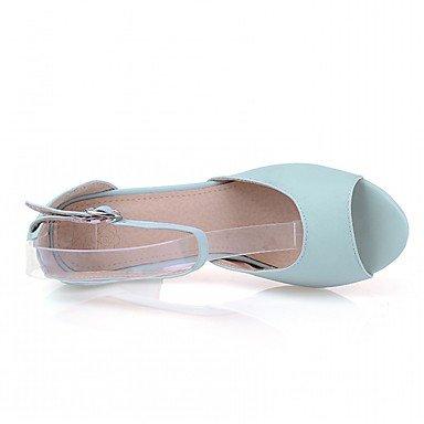 LvYuan Mujer Sandalias Semicuero PU Verano Otoño Paseo Hebilla Tacón Robusto Beige Azul Rosa 7'5 - 9'5 cms Blue