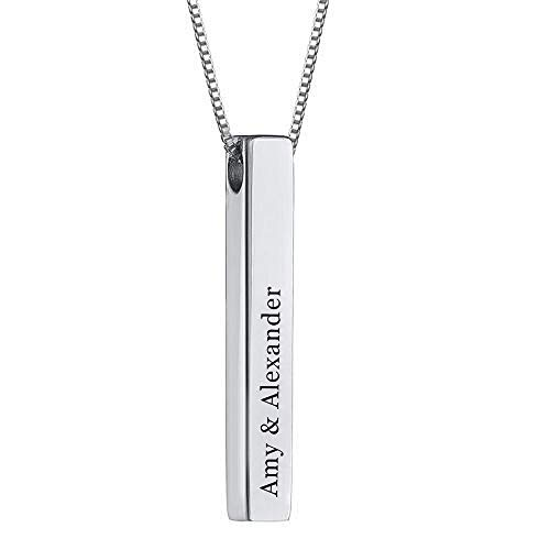 RESVIVI Sterling Silver 3D Engraved Personalized Bar Name Necklace Custom Made Any Name Pendant Necklace