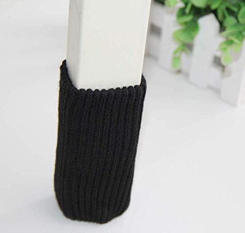 Colore Nero SMIN 24 feltrini protettivi per mobili Lavorati a Maglia per Gambe di sedie Calzini di Lana per Piedi di tavoli e tavoli