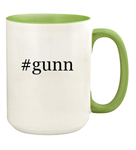 #gunn - 15oz Hashtag Ceramic Colored Handle and Inside Coffee Mug Cup, Light Green