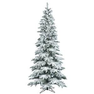 Vickerman Flocked Utica Fir Tree with 744 Tips, Slim, 6.5-Feet by 39-Inch