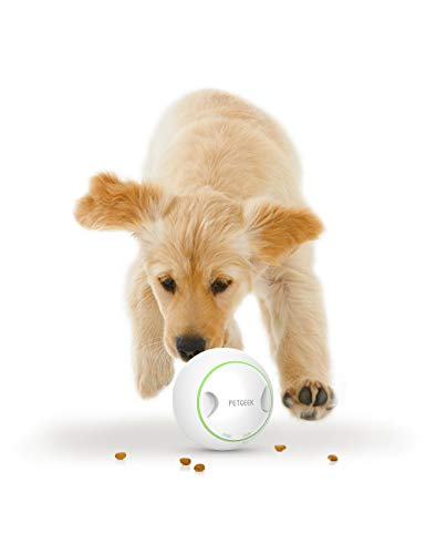 PETGEEK Automatic Dog Treat Toys for Boredom, FDA Certificate Dog Food Dispensing Ball, Smart Dog Toy Interactive IQ Training Toy/Treat Dispensing Dog Toys ABS Materia Diameter 5.7',White/Green Color