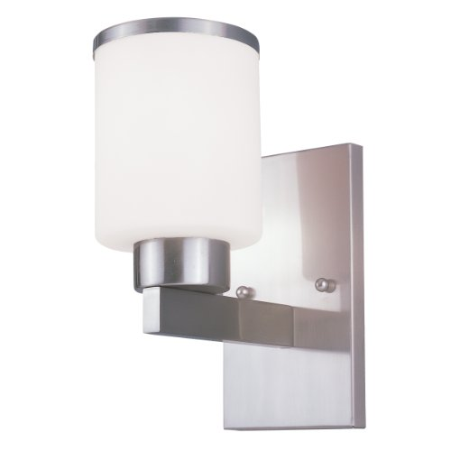Z-Lite 312-1S-BN Cosmopolitan One Light Wall Sconce, Metal Frame, Brushed Nickel Finish and White Shade of Glass Material