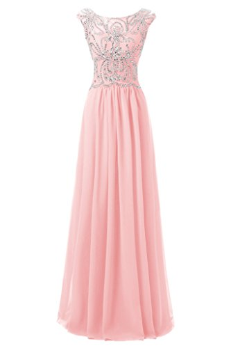 Ellames Floor Length Bridesmaid Dress Cap Sleeves Prom Evening Gown Pink US (Beaded Chiffon Gown)