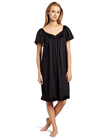 Vanity Fair Women's Coloratura Sleepwear Short Flutter Sleeve Gown 30109, Midnight Black, Medium