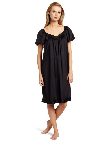 Silk Flannel - Exquisite Form Women's Coloratura Sleepwear Short Flutter Sleeve Gown 30109, Midnight Black, Medium