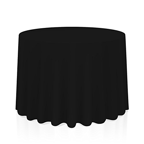 """Lann's Linens 132"""" Round Premium Tablecloth for Wedding/Banquet/Restaurant - Polyester Fabric Table Cloth - Black"""