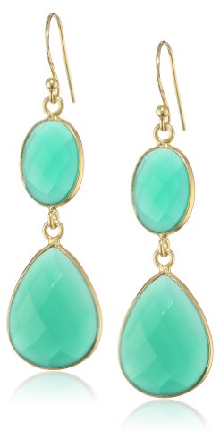 Faceted Green Onyx Oval and Pear Shape Bezel Bead with Gold over Silver Ear Wire Drop Earrings