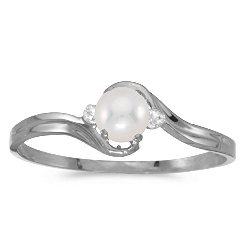 0.01 Carat (ctw) 10k White Gold Round Freshwater-Cultured Pearl and Diamond Accent Bypass Swirl Fashion Promise Ring (4 MM) - Size ()