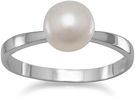 6mm Bleached White Cultured Freshwater Button Pearl in Rhodium Plated Sterling Silver Ring, Sizes 4-11