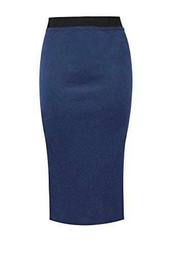 Janisramone Womens Plain Office Work Pencil Ladies Stretch Bodycon Mini Midi Skirt Size 8-26 Marine