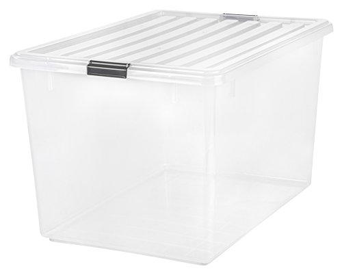 IRIS 132 Quart Buckle Down Storage Box, Clear